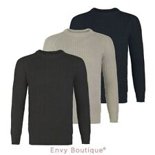 NEW MENS KNIT JUMPER CREW NECK STRETCH BIG KNITTED CASUAL SWEATER PULLOVER S-XL