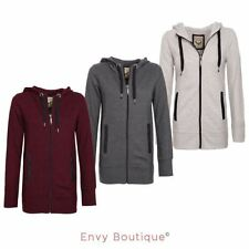 BRAVE SOUL LADIES WOMENS PLAIN HOODIE HOODED ZIP TOP ZIPPER SWEATSHIRT JACKET