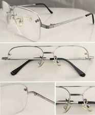 A6 Great Value Silver Semi Rimless Metal Double Bridge Big Frame Reading glasses