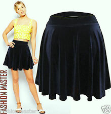 WOMENS NEW LADIES SOFT VELVET VELOUR ELASTICATED SHORT SKATER MINI SKIRT 8-14