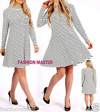 WOMENS NEW LADIES STRIPED HIGH NECK SWING DRESS PARTY DRESS SIZE 8-16