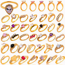 Fashion Womens Jewelry 18K Gold Plated Engagement Wedding Mariage Crystal Rings