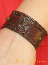 Medieval Lion Celtic Leather Cuff Bracelet