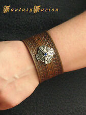 Celtic Cross Leather Fashion Tooled Design Cuff Bracelet