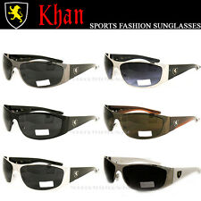 Khan Fashion Aviator Sunglasses Biker Driving Sport Silver Metal Black Shades