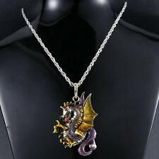Handmade Crystal Dragon Necklace Pendant Jewelry Retro Fire Sweater Chain Accs