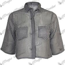 Womens 3/4 Sleeved Collared Ladies Dotted Cropped Chiffon Desgined Shirt Dress