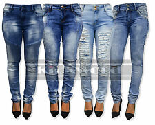 WOMENS RIPPED KNEE CUT JEANS FADED SLIM FIT LADIES SKINNY DENIM SIZES 6 TO 20