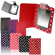 For AMAZON KINDLE 4 / 4th & TOUCH 7 (2014) LEATHER CASE COVER WALLET WITH LIGHT