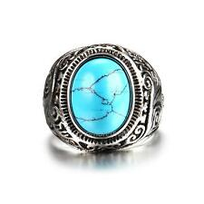 New Fashion Jewelry Stainless Steel Men's Turquoise Vintage Ring Men Stone Ring
