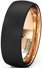 Mens Wedding Band Two Tone Black Rose Gold Tungsten Ring Brushed Center Dome 8mm