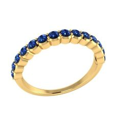 0.60 ct Real Round Blue Sapphire Solid Gold Half Eternity Wedding Band Ring