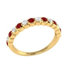 0.60 ct Natural Ruby & Certified Diamond Solid Gold Half Eternity Wedding Band