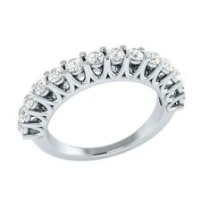 0.70 ct Natural Round White Topaz Solid Gold Half Eternity Wedding Band Ring