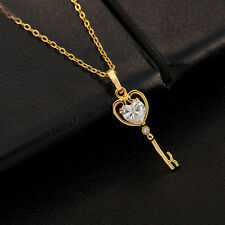 rhinestone crystal heart shape golden pendant necklace chain charm women alloy