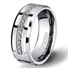8mm Tungsten Carbide Ring with Brilliant CZ Mens Wedding Band