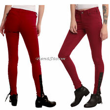 TRIPP NYC JOAN JETT RED Lace Up Corset Leather STRETCH SKINNY JEANS PANTS SZ 0