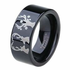 Deer Pattern Black Tungsten Carbide Ring Wedding Band Outdoor Hunting Ring