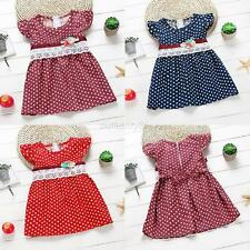 Kids Baby Girl Summer Dress Toddler Child Sleeveless Lace  Polka Dots Dress 1-4Y
