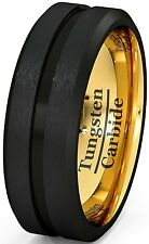 Mens Wedding Band Two Tone 8mm Black Tungsten Ring Brushed Groove Brushed Edge