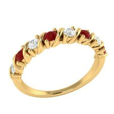 0.40 ct Real Ruby & Certified Diamond Solid Gold Half Eternity Wedding Band