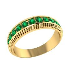 0.50 ct Natural Round Green Emerald Solid Gold Half Eternity Wedding Band Ring