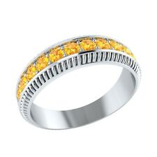 0.50 ct Natural Round Yellow Citrine Solid Gold Half Eternity Wedding Band Ring
