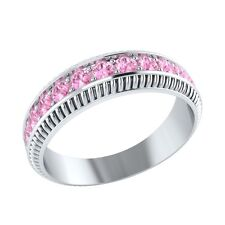 0.50 ct Real Light Pink Sapphire Solid Gold Half Eternity Wedding Band Ring