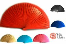 New Spanish Flamenco Real Wood & Fabric Dance Fan - Choice of 13 Colours UK