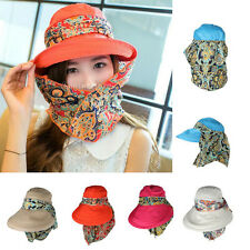 Womens Outdoor Sun Hat Face Protective UV Protect Wide Brim Visor Foldable Cap