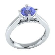 0.60 ct Solitaire Natural Blue Tanzanite Solid Gold Wedding Engagement Ring