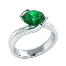 1.25 ct Solitaire Natural Green Emerald Solid Gold Wedding Engagement Ring