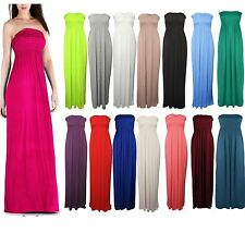 Womens New Strapless Bandeau Ladies Shearing Boob Tube Long Maxi Dress Size 8-14