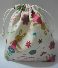 Cotton Linen Drawstring Small Bag Storage Travel Packaging Pouch Purse-Rabbit2