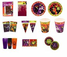 Halloween Party, Plates, Bowls, Banners, Cups, Table Cloths, Napkins, Party Bags