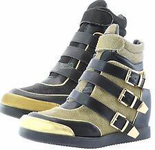 Metallic High Top Sneakers - Shimmering, Shiny Black and Gold High Top for Women