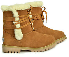 Fashion Short Ugg Boots with Front Lace Premium Australian Sheepskin