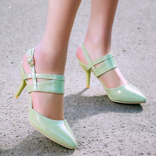 Womens Pointy Toe Buckle Patent Party High Heel Slingbacks Pumps Shoes Plus ju