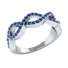 0.35 ct Natural Round Blue Sapphire Solid Gold Half Eternity Wedding Band Ring