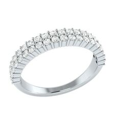 0.60 ct Natural Round White Sapphire Solid Gold Half Eternity Wedding Band Ring