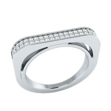 0.30 ct Natural Round White Sapphire Solid Gold Half Eternity Wedding Band Ring