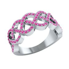 0.50 ct Real Round Pink Sapphire Half Eternity Wedding Band Ring in Solid Gold