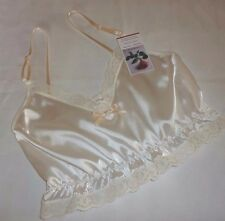 IVORY shiny SATIN shorty camisole CROP TOP natural lace new Made in France