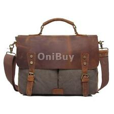 Vintage Shoulder Bags Canvas Leather Messenger Laptop Bag School Military