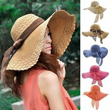 Women Beach Hat Lady Derby Cap Wide Brim Floppy Fold Summer Sun Straw Hat New