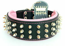 Real leather dog collar. 2.5 inch wide. soft padded. hand made in Europe!