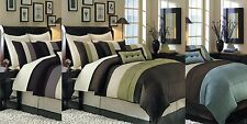 8pc Multi Colorblock Comforter Set Bed in a Bag AND Pillows - ALL SIZES & COLORS