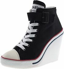Maxstar Women's 777 Buckle Strap Canvas High Wedge Heel Sneakers 2 Colors