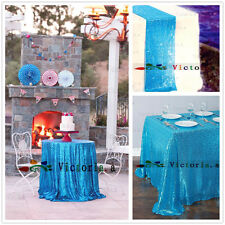 Light Blue Sequin Table Cloth, Shimmer Sparkly Overlays Tablecloths for Wedding