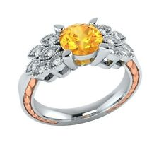 0.85 ct Natural Citrine & Certified Diamond Solid Gold Wedding Engagement Ring